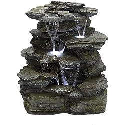 Köhko Springbrunnen Greifenstein Gartenbrunnen in Naturstein-Optik mit LED-Beleuchtung