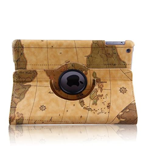 Map Design 360 Degree Rotating PU Leather Smart Case Cover with Auto Sleep / Wake Feature for iPad Air (New iPad 5 5th Generation)+ Free Gift ONE Stylus Pen (Orange)