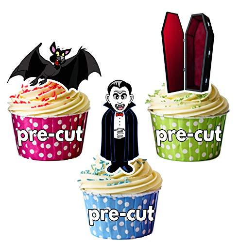 Vorgeschnittener Halloween Vampir Mix - Essbare Cupcake Topper / Kuchendekorationen (12 Stück)