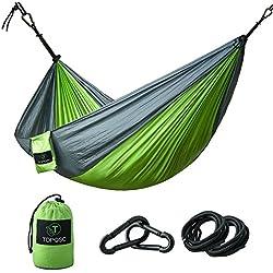 Hamaca para Camping - TOPQSC Hamaca para Camping Ultra ligera Portátil de Nylón Compacto Perfecto para Playa, Traspatio, Caminata y Dormir en el Interior o al Aire Libre(verde)