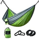 TOPQSC Hängematte, 100% Fallschirm-Nylon Camping Hängematten, mit Moskitonetzen Hochfester Belastung bis 200 kg, im Set mit Haltegut und Karabiner, Outdoor Trekking & Camping Hammock (Grün)