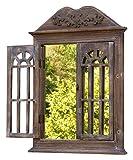 amadeco Wunderschönes Spiegelfenster mit 2 Rundbögen Rundbogenfenster Spiegel mit Fensterläden im Landhaus Stil - aus Holz - Braun für amadeco Wunderschönes Spiegelfenster mit 2 Rundbögen Rundbogenfenster Spiegel mit Fensterläden im Landhaus Stil - aus Holz - Braun