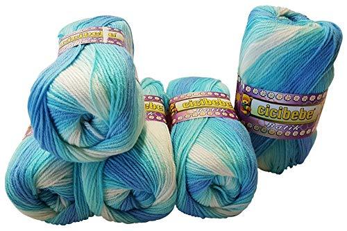 Cicibebe batik - gomitolo di lana da 500 g, 5 x 100 g, multicolore blau türkis weiß 550-12