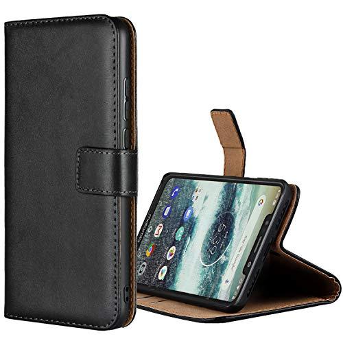 Aopan Motorola Moto One Hülle, Flip Echt Ledertasche Handyhülle Brieftasche Schutzhülle für Motorola Moto One, Schwarz