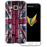 dessana England transparente Silikon TPU Schutzhülle 0,7mm dünne Handy Soft Case für Samsung Galaxy J3 (2016) England Flagge