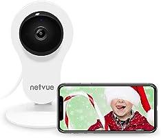 NETVUE 1080P Wlan Baby Kamera mit 2-Wege-Audio,Bewegungserkennung Alarm,Nachtsicht,8X Digitaler Zoom,(EU-Stecker)