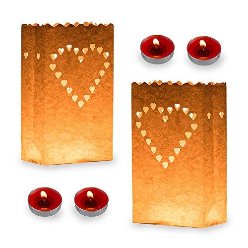 20Stück Lichttüten Candle Bags Feuer hemmend Wishing Laternen wiederverwendbar Lichttüten Staubbeutel mit 20Duftkerzen