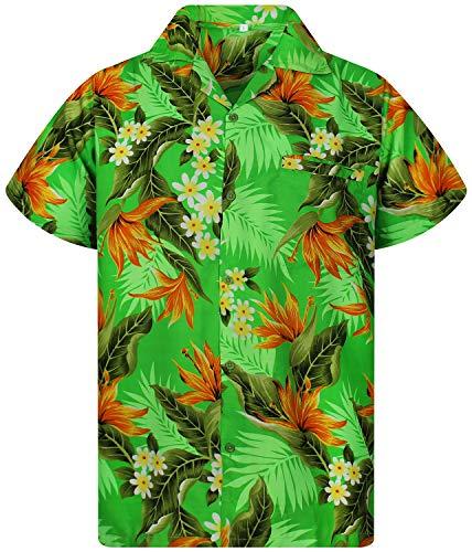 Funky Camisa Hawaiana, Manga Corta, Strelitzie, Verde, M