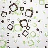 WANDfee® 60 Carrés de Couleur Vert Pastel Marron foncé Bicolore décoration Murale Moderne autocollante Retro Cubes carrés Autocollants