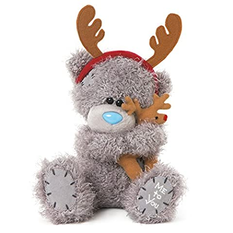 Me to You 8-Inch Tatty Teddy Plush Bear Wearing Antlers and Cuddling a Reindeer