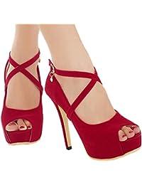 Xianshu Women Sexy Rhinestone Buckle Thin Heel Talons hauts Single Fish Boca Shoes Pompes