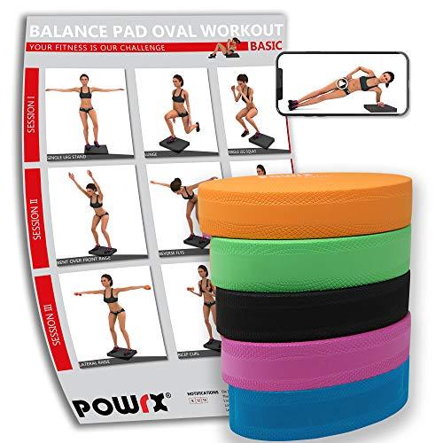 POWRX Balance Pad Deluxe Oval inkl. Workout I Ganzkörpertraining gelenkschonend für Gleichgewicht Stabilität Koordination I Hautfreundliches TPE 28 x 17 x 6 cm I Versch. Farben Orange