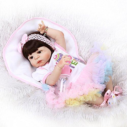 JHGFRT Simulations Wiedergeburt Puppen Silikon Nettes Baby Kann Das Wasser Spiel Baby Kreatives Geburtstags Geschenk 56CM Eintragen