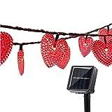 Solaires Coeur D'amour Lumières Extérieures,KINGCOO Imperméable 20ft 30LED Solaire étoilé Décoratif Guirlande Lumineuse avec 8 Modes pour Noël Halloween Mariage (Rouge)