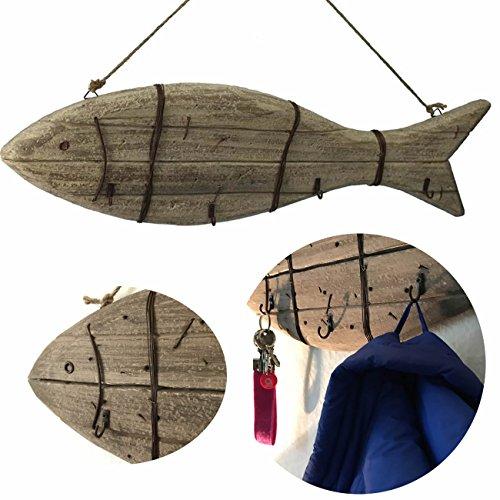 LS-LebenStil XXL Holz Wandgarderobe Garderobe 4 Haken Maritim Braun 70x20x5cm Shabby rustikal Fisch Hafen