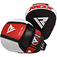 RDX Boxing Pads Gel Focus Mitts Leather MMA Muay Thai Hook and Jab Curved Kickboxing Training Strike Target Hand Pads Martial Arts Punching Shield