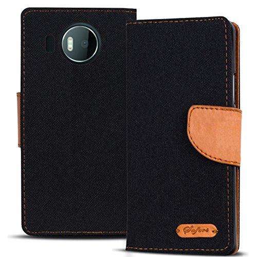 Verco Lumia 950 XL Hülle, Schutzhülle für Microsoft Lumia 950 XL Tasche Denim Textil Book Case Flip Case - Klapphülle Schwarz