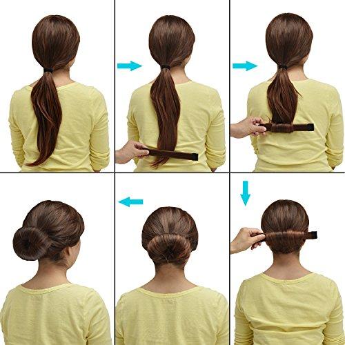 Browill 2 Pack Damen Fashion Hair Styling Donut Hair Bun Maker Perfekt fur lange und dicke Haare - 4
