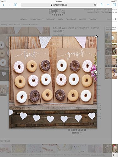 Ginger Ray- Displays 9 Donuts Pared de rosquilla laminada dorada, Color blanco (PM-375)