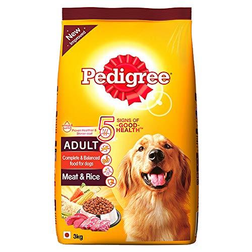 Pedigree Adult Dry Dog Food, Meat & Rice – 3 kg Pack