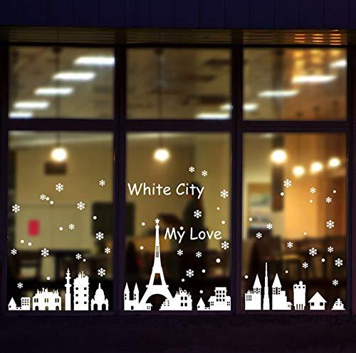 Christmas Snow Metropolitan Shop Window Glass Christmas Decoration Removable Wallpaper