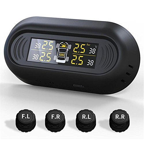 Sistema TPMS di monitoraggio della pressione dei pneumatici per auto di pressione (0 - 7,0 Bar, 0-101 PSI) con LCD bloccato sul finestrino della macchina 4 sensori senza fili di energia solare di cari