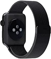 ProElite 42 mm Stainless Steel Milanese Loop Strap with Magnetic Lock Buckle Wrist Band for Apple Watch - Black [*Watch NOT Included*]