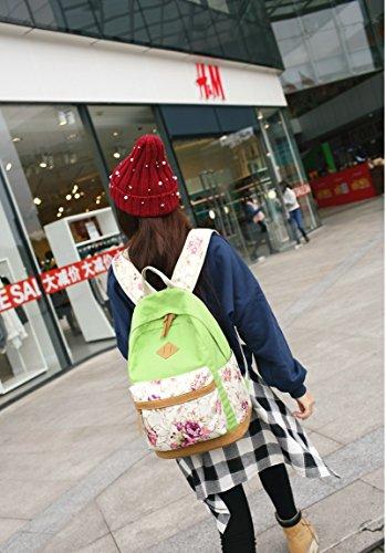 Fashion Mädchen Schulrucksack Damen Canvas Rucksack Teenager Baumwollstoff Schultasche Outdoor Freizeit Daypacks mit Schicker Lace Grün