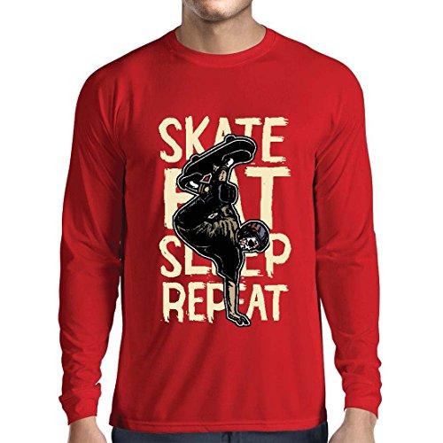 Langarm Herren t shirts Eat-Sleep-Skate-Repeat Fro Skateboard Liebhaber, Skateboarder Geschenke, Skateboarden Kleidung (Large Rot Mehrfarben) (Creek Duster)