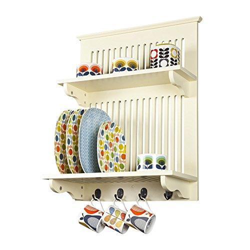Aston Buttermilch Küche Tellerhalter,Holz und Wandmontage. Feste Regal oben mit Haken unter, Zeitgenössisches Design von Elegant Brands (Teller-regal-wand-display)