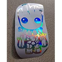 Baby Groot oil slick neo chrome holograph holographic glitter vinyl decal sticker funny novelty bike car van foil car deep