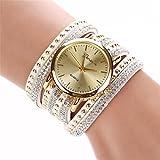 Contenuto del pacco:  Bracciale di cristallo delle donne 1PC Rivet quarzo intrecciato Winding Wrap orologio da polso Occasioni per i regali: Pubblicità e promozione, regali di affari, festa, housewarming, compleanno, viaggio