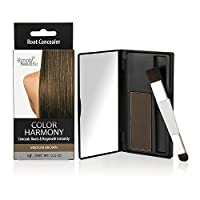 Hair Color Root Touch Up Powder by Color Harmony: Conceals Grey and Dark Roots, Water Resistant Cover-Up; Non-Sticky, Simple to Apply and Mess-Free Root Concealer Mascara (Medium Brown)