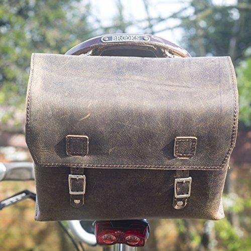 XXL grande de piel bolsa de bicicleta bolsa de sillín/manillar/marco (Vintage marrón) 23x 19,5x 11cm)