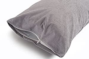"""Uppercut 100% Water Resistant Terry Cotton Pillow Protector - Set of 2, Silver Grey (18"""" x28"""")"""