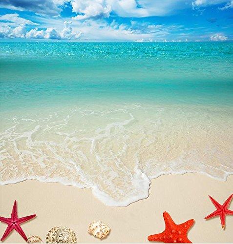 Roebin 3D Wandbild Tapete Kundenspezifischer Bodenbelag Strandmuschel-Starfish-Bodenfliesen Foto Mura Fliesenboden-Badezimmer Malerei Wand-Aufkleber Wanddekoration 300Cmx200Cm
