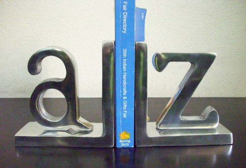Recycled Aluminium A & Z Bookend - Large (Set of 2)