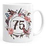 MoonWorks Geburtstags-Tasse 75 Fünfundsiebzig Geschenk-Tasse Kaffee-Tasse Blumen Blüten Blumenkranz Weiß Unisize