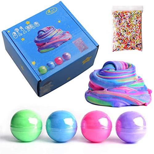 BESTZY Schleim Fluffy Slime - 4 Pcs 8 Unzen Weicher Schleim mit Schaum Perlen, Stressabbau Kitt Spielzeug, Jungen und Mädchen - 8-unzen-natürliche