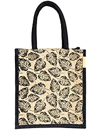 H&B Beautiful, Trendy & Stylish Jute Handbag / Beige Bag With Black Leaf Design / Quality Lunch Bag / Gift Bag...
