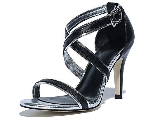 PBXP Open-Toe X-Straps Kätzchen Mid Heel Sandalen Einfache Frauen Casual Work Beach Sandalen Europa Größe 34-39 Black