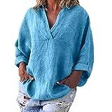 iYmitz Damen Große Größe T-Shirt Langarm V-Ausschnitt Einfarbig Leinen Tops Lose Freizeit Bluse Für Frauen(Blau,EU-42/CN-XL)