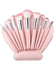 Make Up Pinsel USpicy Schmink Pinselset 10-tlgs Schminkpinsel Makeup Brush Set Kosmetik highlighter Lidschattenpinsel mit PU Lederetui in Form einer Muschel für Rouge, Cremes, Flüssigkeiten, Konturierung Puder
