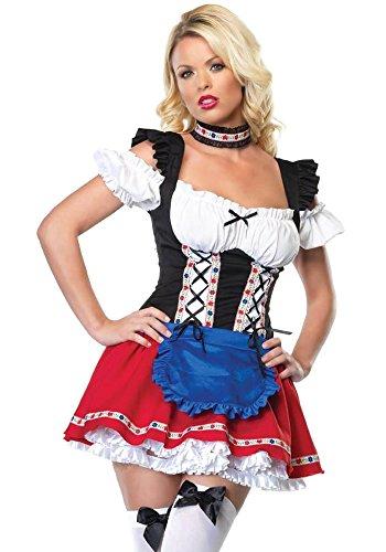 Kostüm Dienstmädchen Bier - KINDOYO Damen Dirndl Kleider Halloween Oktoberfest Partys Kostüm Bier Dienstmädchen Uniform Cosplay Outfit Frech Sexy Kostüm mit 5 Styles, Stil-1