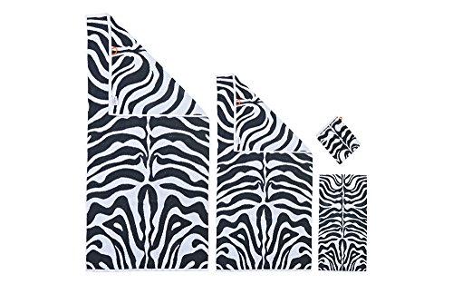 Baidani Zebra 4-Tlg. Handtuch-Set, Baumwolle, Mehrfarbig, 140 x 70 cm, 4-Einheiten (Safari Waschlappen)