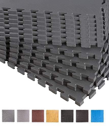 BodenMax Schutzmatten 60 x 60 cm Puzzlematte Sportmatte Unterlegmatte Gymnastikmatte Fitnessmatten Bodenschutz Mattenstärke: 10-25 mm