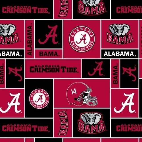 College University of Alabama Crimson Tide 012 Print Fleece Fabric By the Yard by Field's Fabrics Crimson University