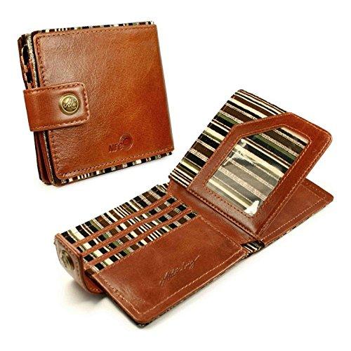 Alston Craig Vintage-Leder RFID/NFC ID Herren Tec Geldbörse-(Oliv gestreift)-Braun (Signatur Ein Jahr Serie)