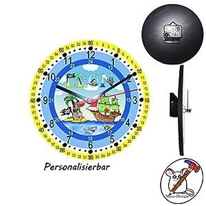 Lernuhr mit Pirat Motiv mit Name lautlos/Lernuhr für Kinder mit Name/Wanduhr/Kinderuhr/Piraten/Schriftwahl für Name