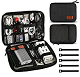 Jamber universal bolsa de viaje cable organizador electrónica accesorios bolsa de transporte caja con juego de bridas para cable, Negro